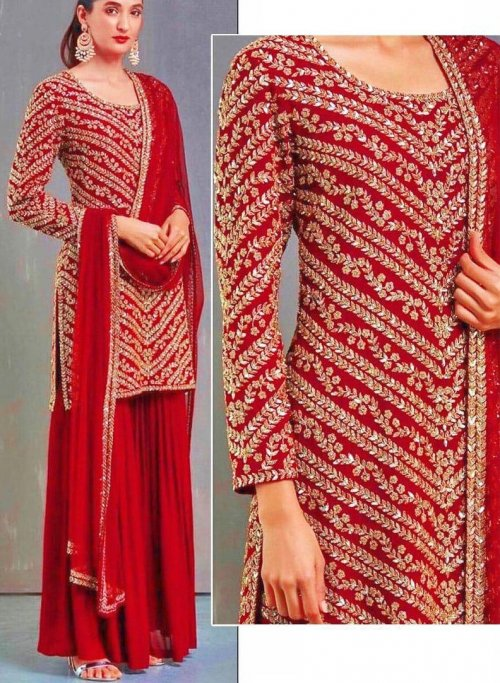 Georgette Embroidery Sharara Suit In Red Colour