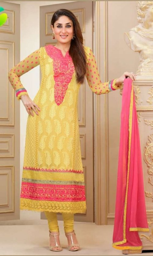 Kareena Kapoor Collection - Yellow and Pink Georgette Salwar kameez with Embriodery and Lace Work