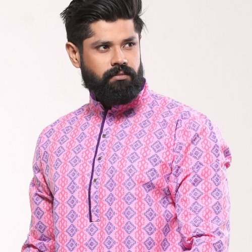 Men's Cotton Punjabi - Pink Navy Print - Mpl 74
