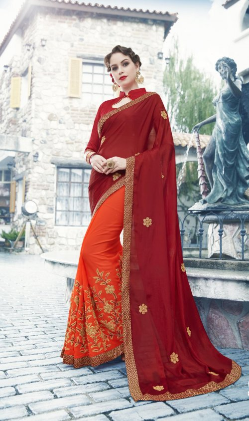 Georgette and embroidery work saree nsc-717