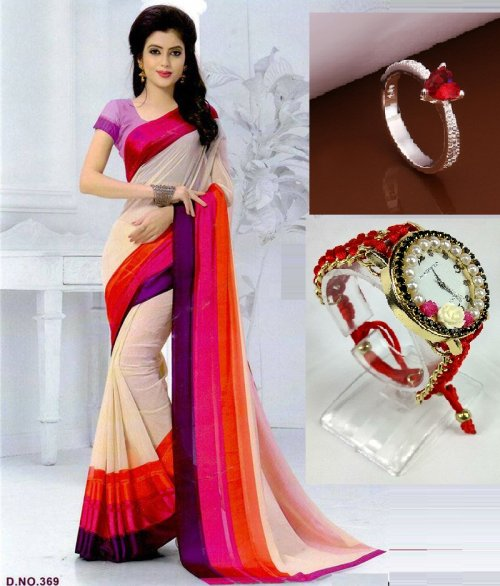 Saree with locket and watch 3 in 1