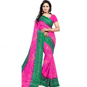 Eid sprcial pink and green chundri silk saree sg-088