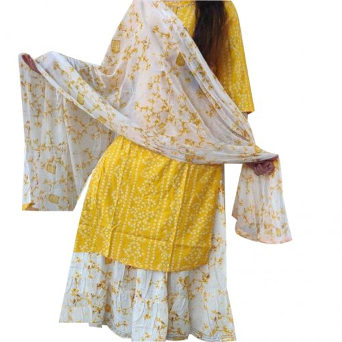 Latest Yellow And White Block Printed Salwar Kameez For Women-free size