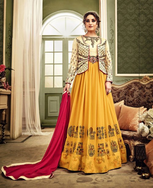Un-stitched yellow embroidered floor length anarkali with designer kotl salwar suit