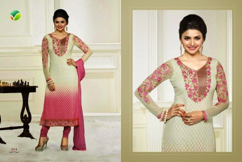 embroidery work with georgette neck desigine salwar kameez