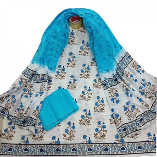 Unstitched skin printed cotton salwar kameez