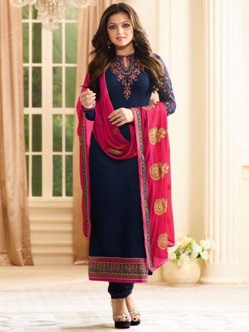 Nitya Georgette Suit with Heavy Embroidery Dupatta in Navy Blue