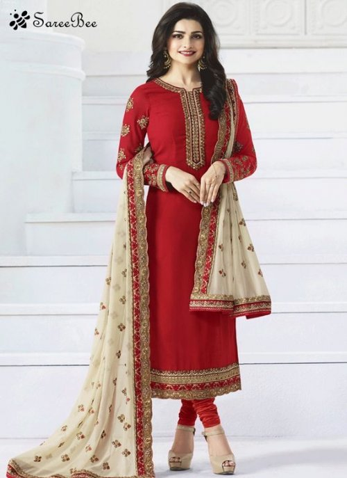 Prachi deshai red embroidered georgette salwar suits