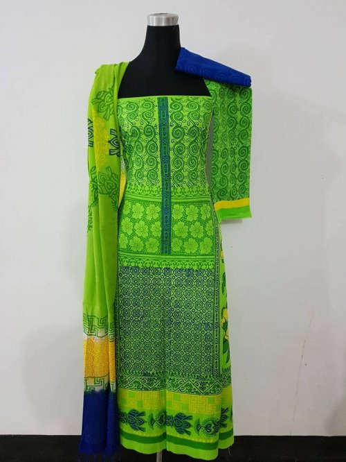 unstiched block printed cotton replica three pcs salwar kameez seblock-554