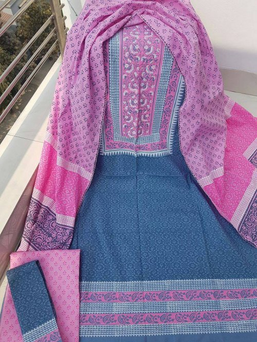 unstiched block printed cotton replica three pcs salwar kameez seblock-530