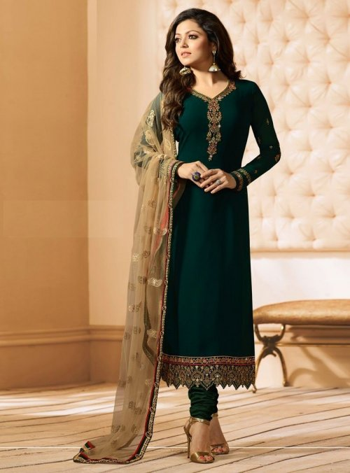 Unstitched dark green georgette salwar kameez Nc-8916
