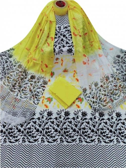Latest Designed White,Black And Yellow High Quality Cotton Salwar Kameez for Women