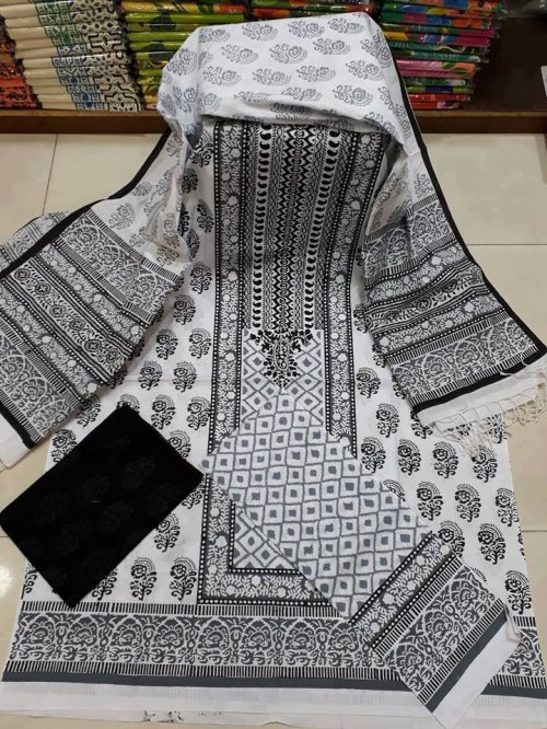 unstiched block printed cotton replica three pcs salwar kameez seblock-537