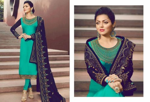Unstitched Stylish Heavy Embroidered Georgette Indian Design Paste Salwar Kameez for Women - Turquoi