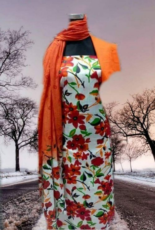 Unstiched block printed cotton replica salwar kameez seblock-614