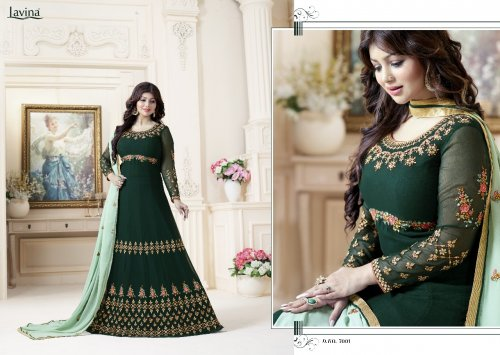 Unstitched green georgette salwar suit Lavina-7001