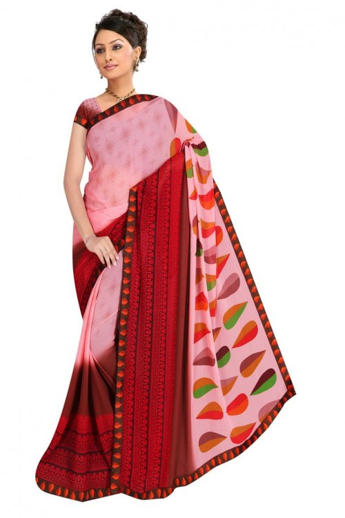 Indian Light Pink And Red Silk Printed saree For women