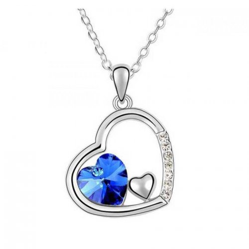 Heart Shaped Blue Stone Pendant
