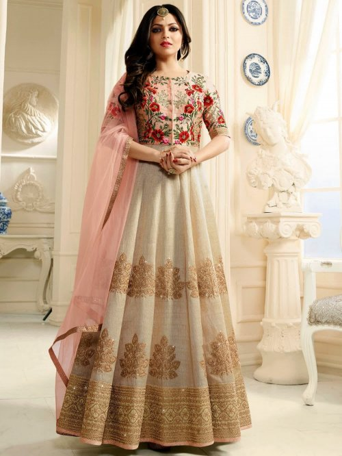 Drashti Dhami Silk Embroidered Floor Length Designer Suit