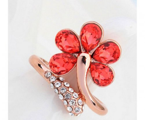 Love as like Red Flower Crystal Valentine's Day Ring