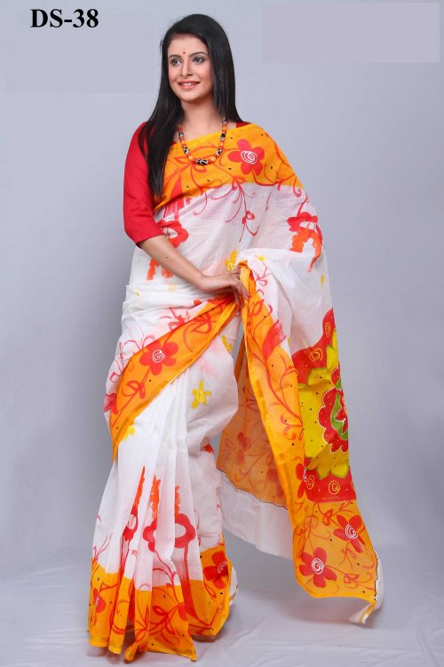 Boishakhi Cotton kota handprint Saree Bois-38