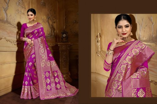 Violet and Golden Embroidery Work Katan Saree For Women