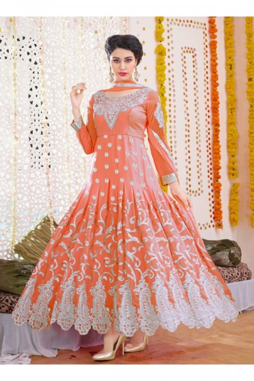 unstitched georgette with Embroidery anarkali Salwar suit