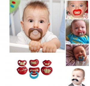 Teeth Mustache Baby Boy Girl Infant Pacifier Orthodontic Dummy