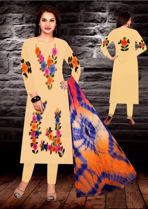 Unstiched brush printed cotton replica salwar kameez seblock-617
