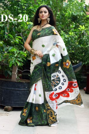 Boishakhi Cotton kota handprint Saree Bois-20