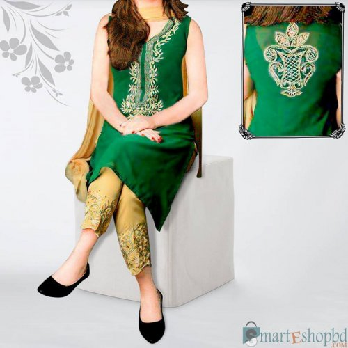 Embroidery soft georgette dress for woman
