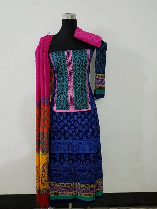 unstiched block printed cotton replica three pcs salwar kameez seblock-567