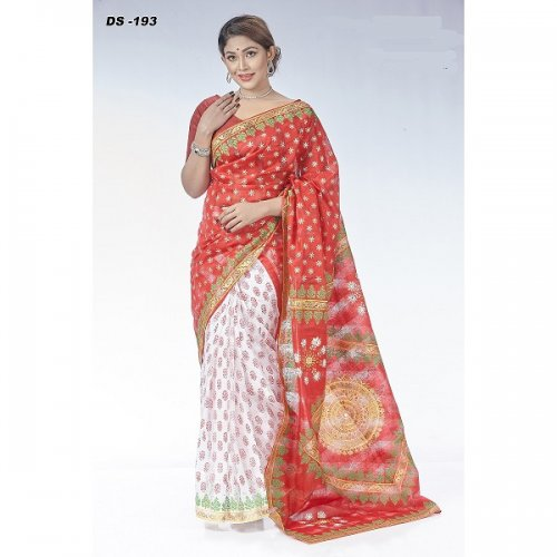 Check Silk Block Printed saree DS-193