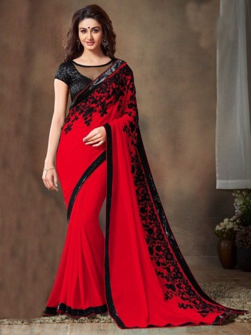 RABAAH FASHIONABLE GEORGETTE SAREE-BLACK & RED
