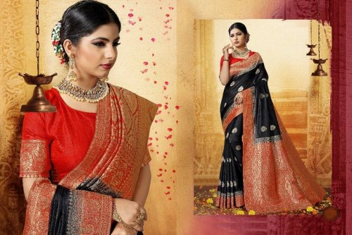 Black,red and Golden Embroidery Work Katan Saree For Women