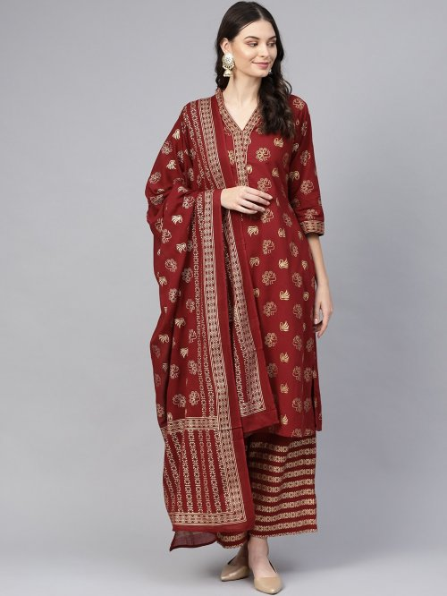 Latest Marron Block Printed 3 pieces Salwar Kameez for Women