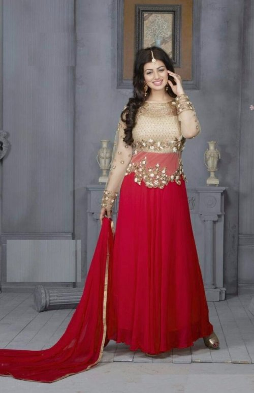 Glorious Red Colored Embroidered Georgette Long Anarkali Kameez