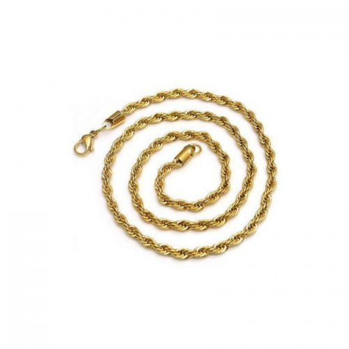 14K Yellow Gold Plated Stainless Steel Rope Chain