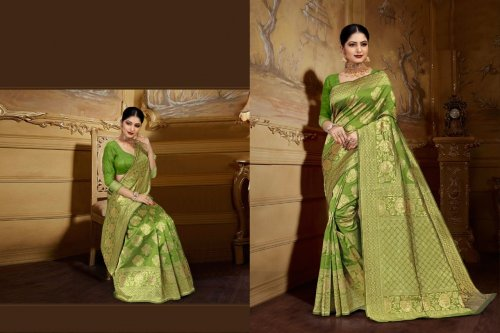 Lemon and Golden Embroidery Work Katan Saree For Women