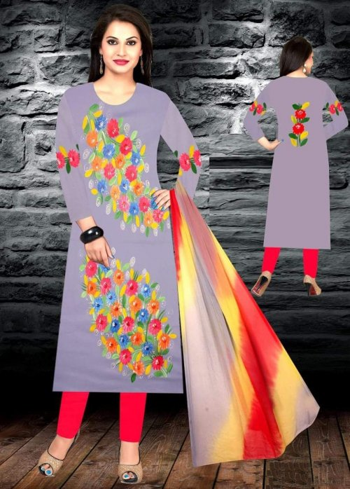 Unstiched brush printed cotton replica salwar kameez seblock-620