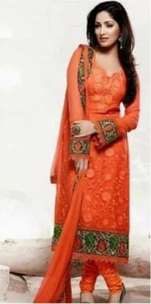 Unstitch georgette orange salwar kamiz