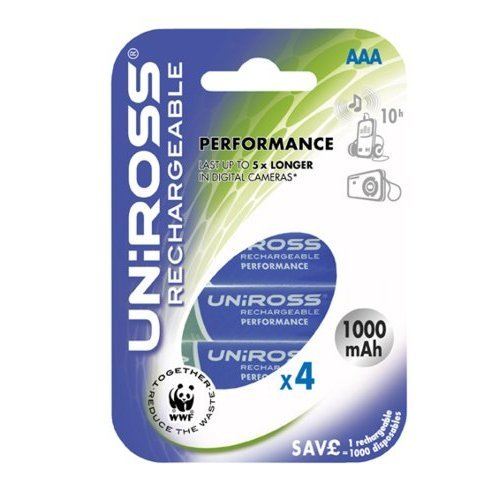 Uniross AAA 1000mAh (4)Rechargeable Battery Ni-Mh