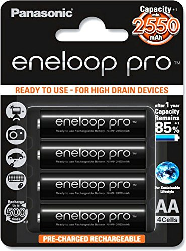 Panasonic 2550mAh Eneloop Pro 4XAA rechargeable battery pack