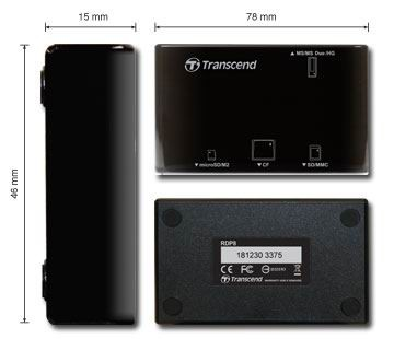 Transcend All in1 Multi Card Reader (USB 2.0), Black