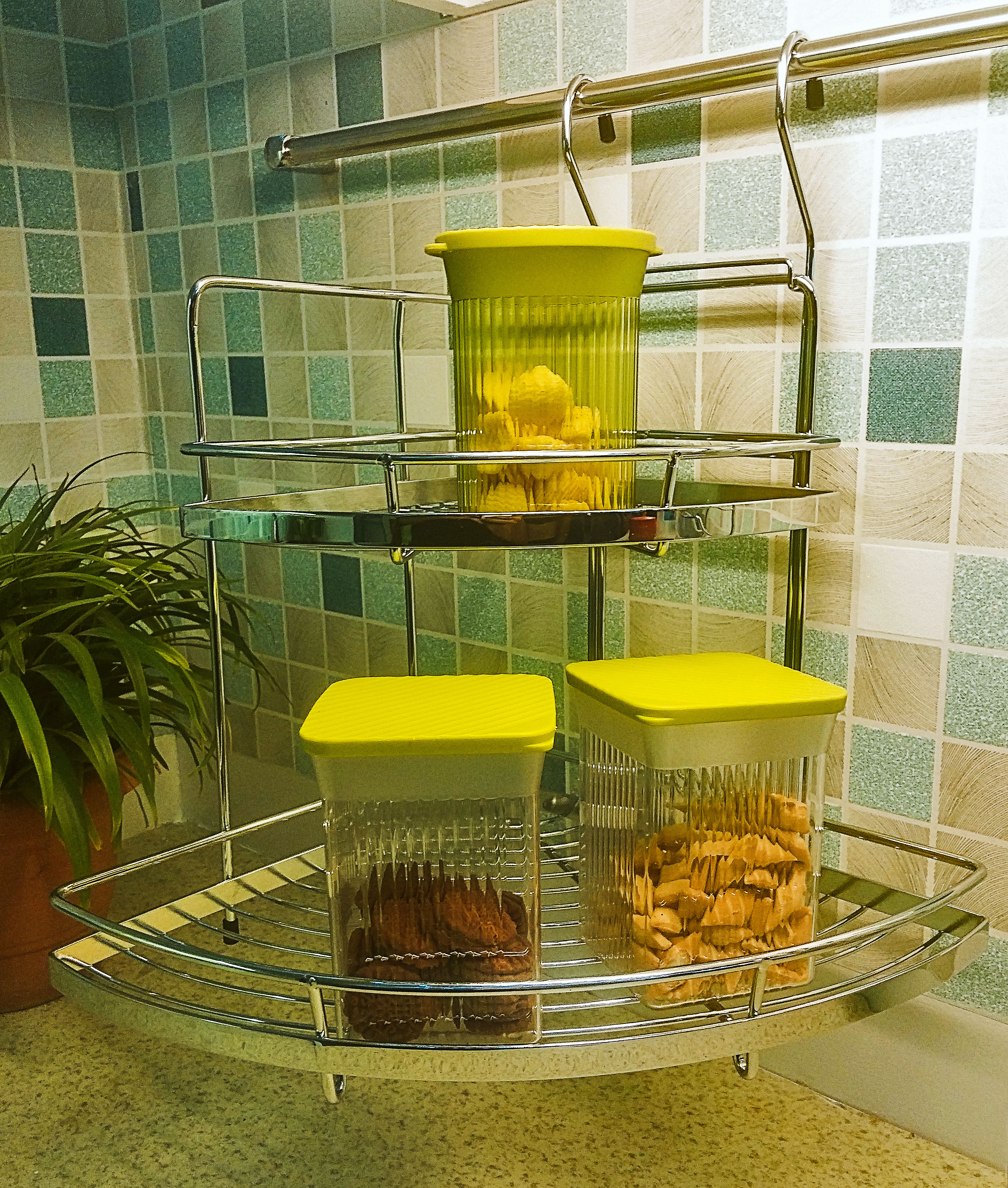 Wellmax Kitchen Accessories: WellMax Double Corner Rack