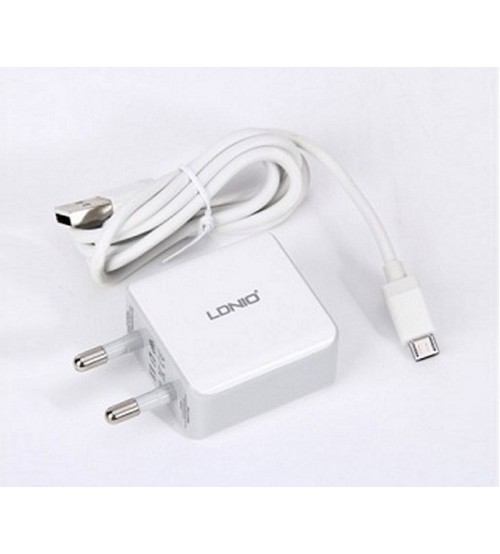 LDNIO 2.1A Dual USB Fast Charger Data Cable