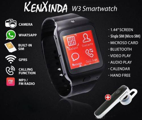 KENXINDA W3 WATCH MOBILE WITH FREE BLUETOOTH HEADSET