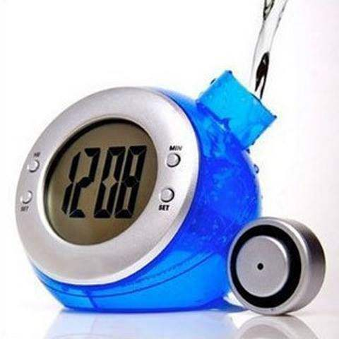 FM Water Power Digital LCD Clock