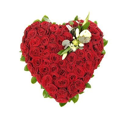 Sensational Heart Shape Arrangement With 100 Red Roses