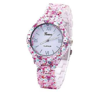 Floral Ladies Printed Watch - Pink